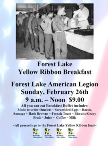8th Annual Forest Lake Yellow Ribbon AYCE Breakfast @ American Legion 225 | Forest Lake | Minnesota | United States