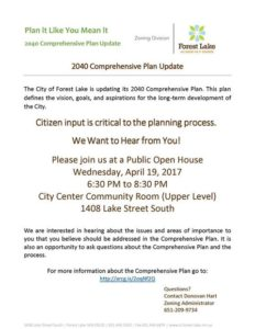 City of Forest Lake Comprehensive Plan Public Open House @ Forest Lake City Hall - 2nd Floor Community Room   Forest Lake   Minnesota   United States